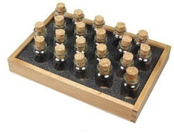 24 Glass Corked Bottles For Bead Storage with Wood Tray