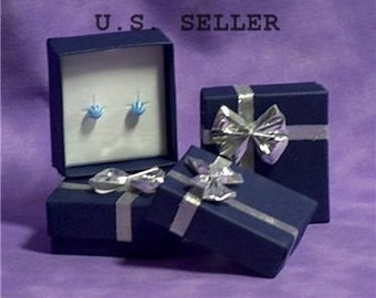 Bowtie Earring Box 24 Qty Blue In Color   SALE