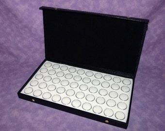 Textured Top Storage Case With 50 Bead/Gem Jars White