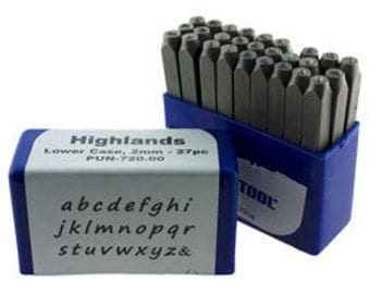 HIghlands Lower Case Letter Punch Set 2mm  27pcs Free U.S. Shipping