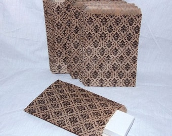 100 Gift Or Shopping Bags Damask Design Medium Size 6x9 Inch  SALE