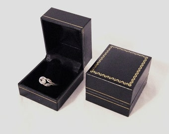 Lot Of 6 Black Leatherette Finger Ring Boxes With Gold Trim