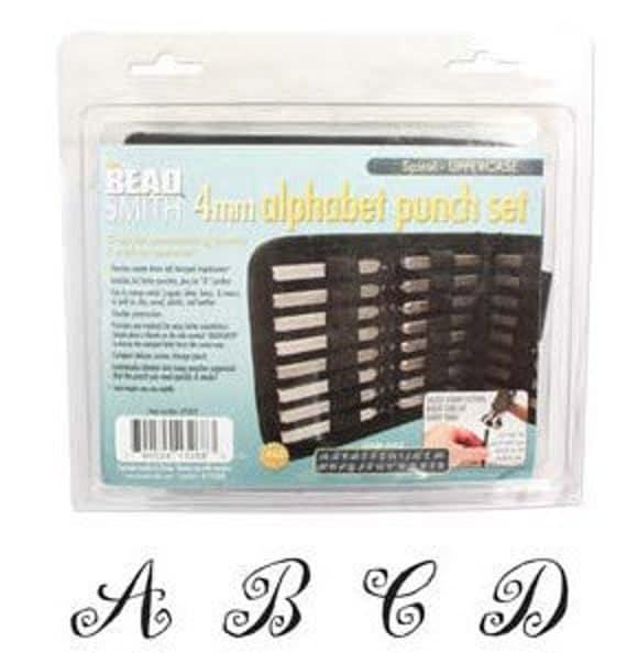 Spiral Upper Case Letter Stamp Set 4.0 MM 27pcs Free U.S. Shipping