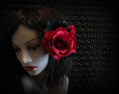Red and Black Rose - Day of the Dead - Dio De Los Muetos - Flower Adornment