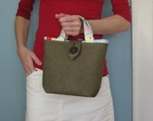 Small Burlap Tote - Apple A Day OOAK