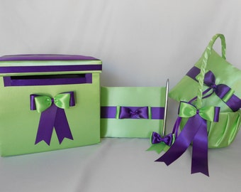 Lime Green Purple Flower Girl Basket Ring Bearer Pillow Card Box Guest Book  Pen Set Wedding accessories Your Colors