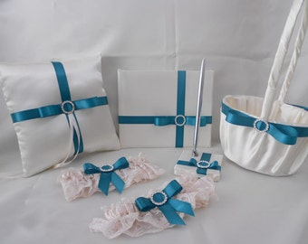 Wedding Accessories Ivory Teal Ring Pillow Flower Girl Basket Guest Book Pen Garters Your Colors