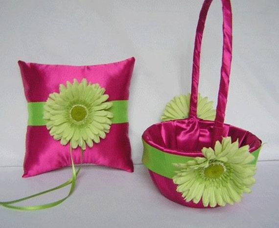 Gerbera Daisy Fuchsia Lime Green Flower Girl Basket Ring Bearer Pillow Your Colors