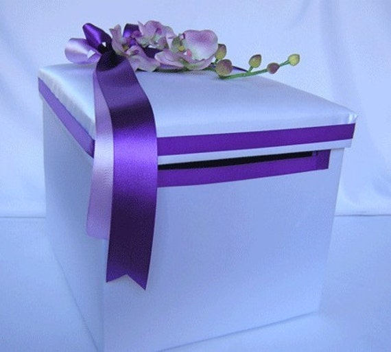 Wedding Card Boxes For Receptions: Wedding Reception Orchid Gift Card Money Box Purple Lavender