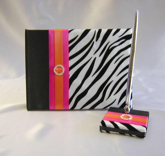 Zebra Print Fuchsia Orange Wedding Quinceanera Sweet Sixteen Guest Book Pen Set Your Colors