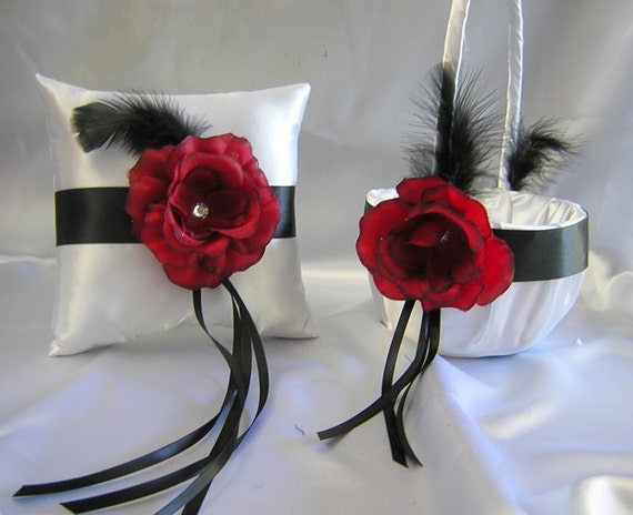 Wedding Black Feather Apple Red Flower Girl Basket Ring Bearer Pillow Your Colors