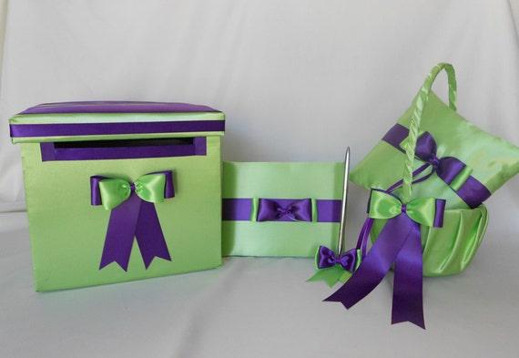 Lime Green Purple Flower Girl Basket Ring Bearer Pillow Card Box Guest Book  Pen Set Wedding accessories Your Colors