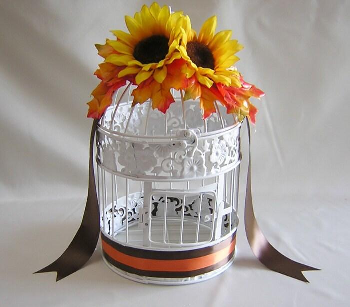 Fall Wedding Card Box Ideas: Sunflower Fall Wedding Birdcage Card Holder Bird Cage