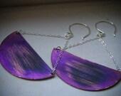 Purple Patina Large 1/2 Moon Copper Earrings