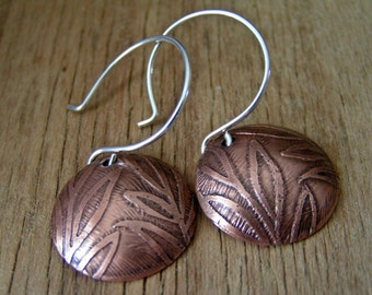 Etched Copper Leaf  Earrings