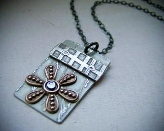 Etched Nickel & Brass Flower Necklace