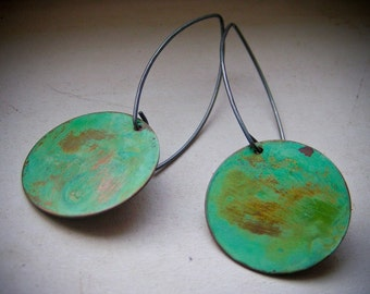 Weathered Verdigris Patina Circle Dangle Earrings