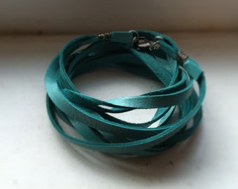 Multi-Wrap Leather Bracelet - Turquoise