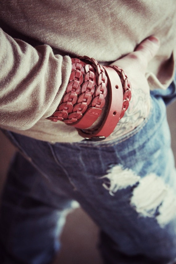 Red Leather Wrap Cuff - Unisex