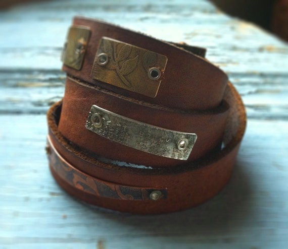 Leather & Metal Wrap Leather Cuff