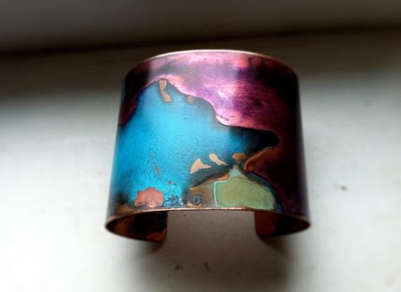 Purple & Verdigris Copper Cuff - Medium