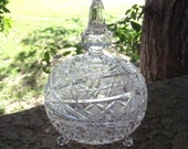 Vintage Crystal Footed Candy Dish