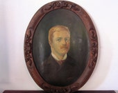RESERVED for  keneric / Antique Portrait Oil Painting of Mustached Gentleman / Late 19th Century Art / FREE SHIPPING and Insurance
