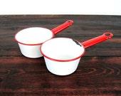 Vintage Set of Two Enamel Pots / Retro Red and White Enamelware