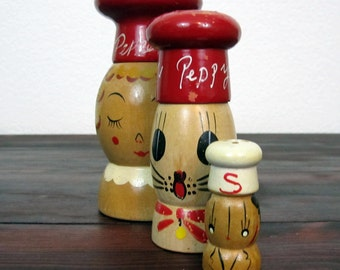 3 Vintage Wood Figure Salt and Pepper Shakers, Hand Painted and Made in Japan