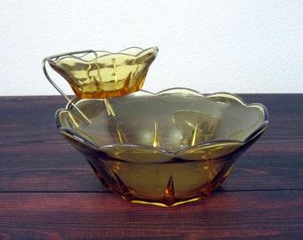 Vintage Amber Chip and Dip Bowl Set / Retro Serving Bowls