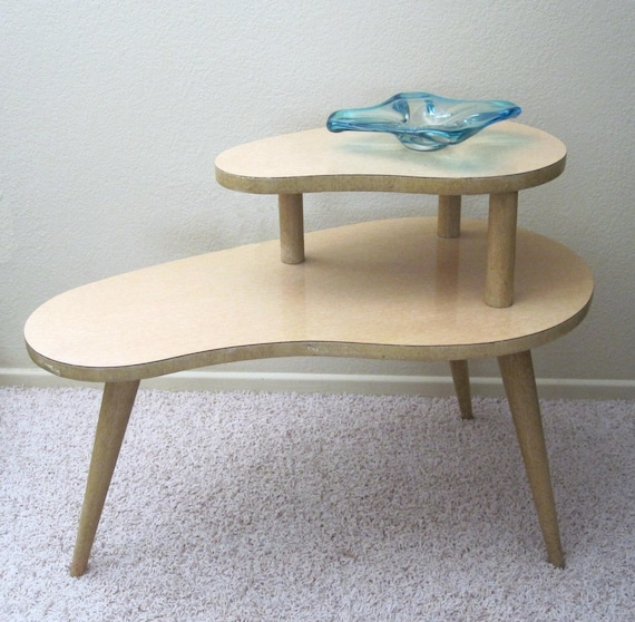 Vintage 1950s Kidney Shaped 2 Tier End Table / Retro Blonde
