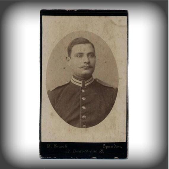 Antique German Military Portrait, Victorian Era Cabinet Card Photo, Carte de Visite, CdV