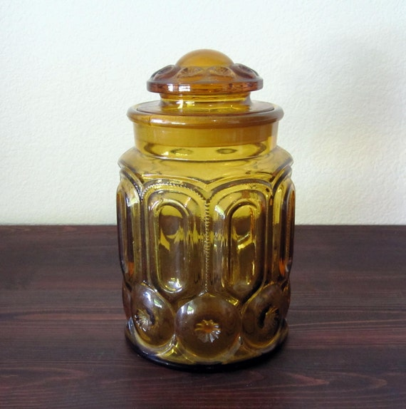 Vintage Amber Moon and Stars Glass Canister / Retro Depression Glass Jar