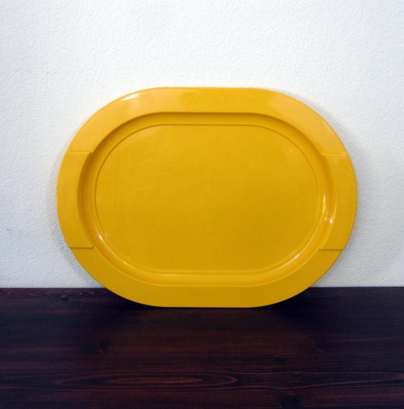 Vintage Yellow Modern Serving Tray / Retro Melamine