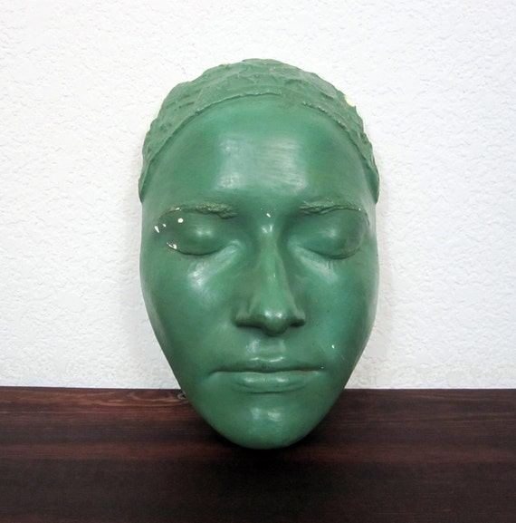 Antique 1930s Plaster Life Mask of Female Subject Model - One of a Kind Plaster Face Molding