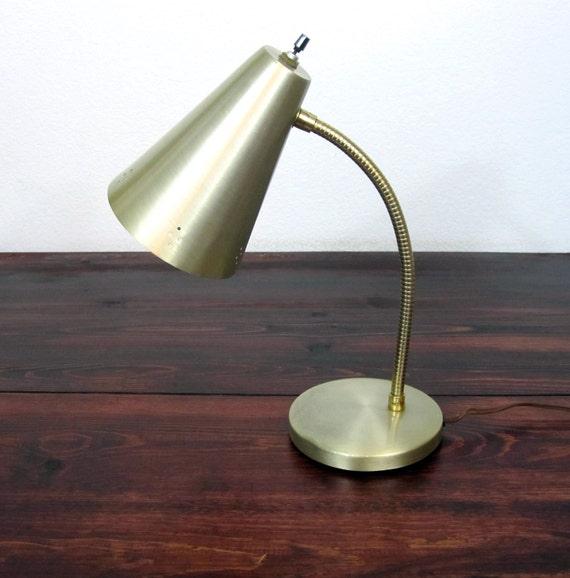 Vintage Mid Century Brass Finish Cone Table Lamp / Retro Lighting