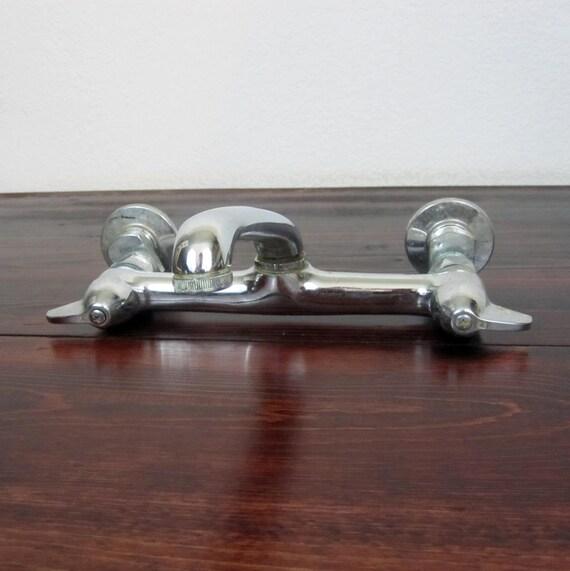 Vintage 1940s Wall Mount Kitchen Faucet Retro Chrome Faucet