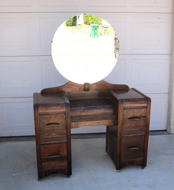 RESERVED for  Stacey Byham / Vintage 1930s Art Deco Vanity / Retro Wood Bedroom Furniture / Pick Up in Palm Springs, CA