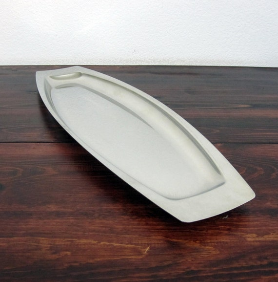 Vintage Danish Modern Style Stainless Serving Tray / Retro Appetizer Tray