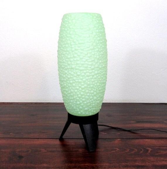 RESERVED for StringBeadsGarden / Vintage Sea Foam Green Pebble Texture Table Lamp / Retro Lighting