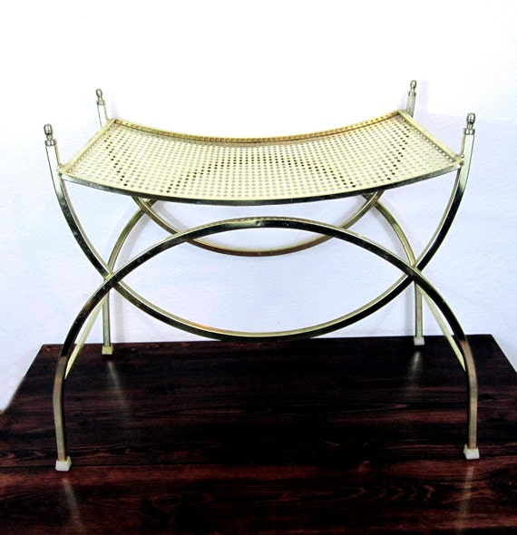 Vintage Brass Finish Vanity Bench  / Retro Boudoir Seat