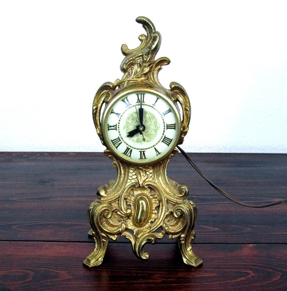 Vintage Art Nouveau Style Lanshire Mantle Clock / Retro Brass Finish Electric Clock
