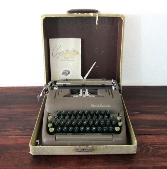 Vintage Smith Corona Silent Typewriter with Case