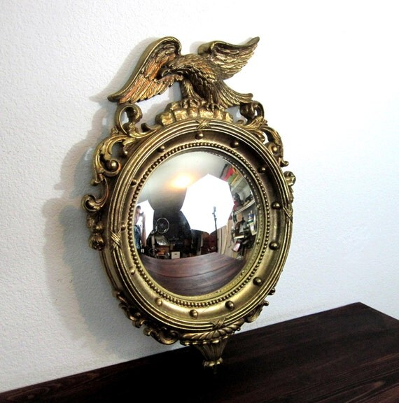 RESERVED for  Julia / Vintage Federal Convex Bullseye Mirror with Eagle and 13 Colony Markers