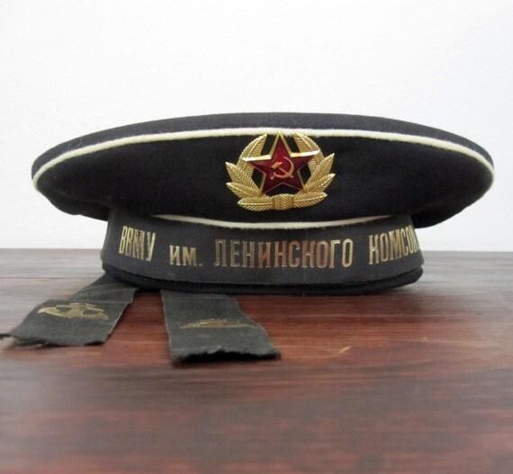 "Vintage Soviet Russian Navy, Sailors Dress Cap ""Beskozirka"""