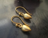 Gold Vermeil Seed Pod Earrings - Regal Romantic Hook Earrings 24 K Gold Vermeil - Sterling Silver -Eccentricities to Treasure by Carlotta Valdes