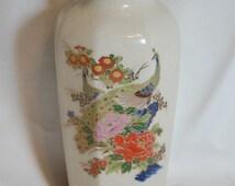 Large Authentic Vintage Japanese Peacock Porcelain Vase Peaceful Glamorous Zen Old Hollywood Wedding Decor at Bohemian Angel