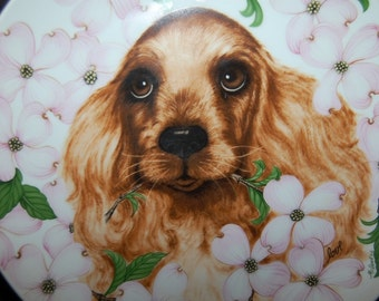 Floral Cocker Spaniel Plate from Royal Orleans by Jane McDowell