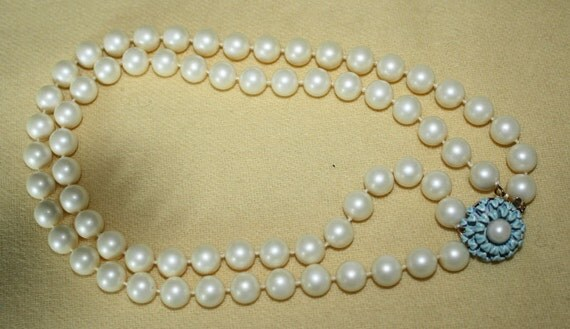 Faux Pearl Double Strand Necklace with Blue Flower Clasp