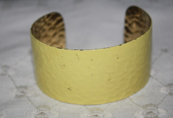 CLEARANCE PRICE Vintage Wide Yellow Enamel Cuff Bracelet